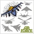 Air force - silhouettes planes and helicopters — Stock Vector #59586913