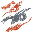 Dragons for tattoo. Vector set. — Vector de stock  #59730153