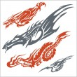 Dragons for tattoo. Vector set. — Vector de stock  #59730297
