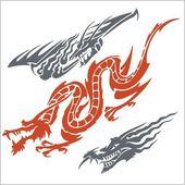 Dragons for tattoo. Vector set. — Cтоковый вектор