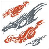 Dragons for tattoo. Vector set. — Stock Vector