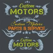 Custom motors - vector emblem set. — Stock Vector