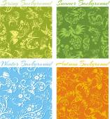 Set of Seasons backgrounds - vector 3D seamless pattern. — ストックベクタ