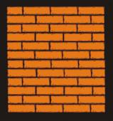 Orange Brick Wall. Vector Clip Art — Stock Vector