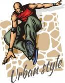 Jump on a skateboard -  vector color illustration — Stock Vector