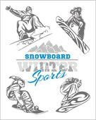 Snowboard - winter sport. Vector stock illustration. — Stock Vector