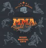 MMA Labels -  Vector Mixed Martial Arts Design. — Stok Vektör