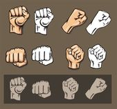 Fists - vector set. Stock illustration. — Stock Vector