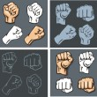 Fists - vector set. Stock illustration. — Stock Vector #60834097