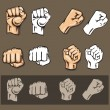 Fists - vector set. Stock illustration. — Stock Vector #60834099