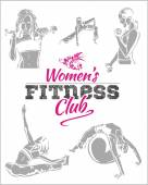 Womens Fitness Gym - vector stock — Vecteur
