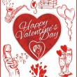 Happy valentines day - vector set. — Vetor de Stock  #61249411