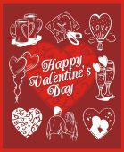 Happy valentines day - vector set. — Vector de stock