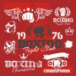 Boxing labels and icons set. Vector illustration. — Stockvektor  #61355539