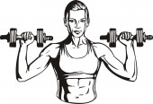 Woman with dumbbells - fitness. Vector illustration. — Stock Vector