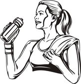Woman drinking from a shaker - sports nutrition. Vector illustration. — Stock Vector