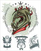 Dragon and ribbon - vector set. Stock illustration. — Stock Vector