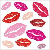Set of lips print on isolated white background. Vector — 图库矢量图片