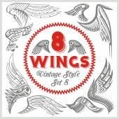 Vector Wings Set. Vinyl-ready illustration. — Stock Vector