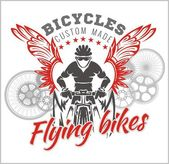 Designs with Flying Bicycle for fashion. Vector illustration. — Vetor de Stock