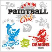 Paintball emblem and logo - vector set — Stock Vector
