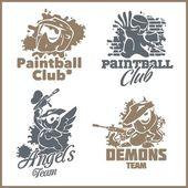 Paintball emblem and logo - vinyl-ready vector set — Stock Vector