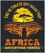 Travel Africa - extreme off-road vector emblem. — Stock Vector