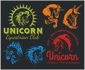 Vector set  - Unicorns and horses equestrian labels, badges — Stock Vector