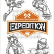 Rock climbing expedition. Vector set - expeditions emblem and climbers. — Stock Vector #62256427