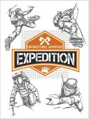 Rock climbing expedition. Vector set - expeditions emblem and climbers. — Vector de stock