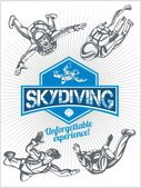 Skydiving. Vector set - emblem and skydivers. — Stockvector