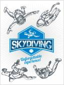 Skydiving. Vector set - emblem and skydivers. — Vetorial Stock