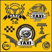 Taxi symbols, and elements for taxi emblem - vector set. — Stock Vector