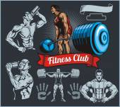 Bodybuilder with a barbell - vector set — Stock Vector