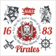 Pirate themed design elements - vector set. — Stock Vector #63070023