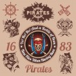 Pirate themed design elements - vector set. — Stock Vector #63070031