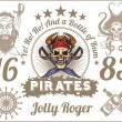 Jolly Roger - Pirate design elements. Vector set. — Stock Vector #63144213