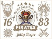 Jolly Roger - Pirate design elements. Vector set. — Stock Vector