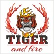 Tiger head hand and fire - vector illustration — Stock Vector #63446285