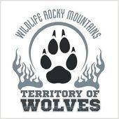 Footprint Wolves emblem -  dangerous territory. — Stock Vector