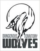 Howling Wolf emblem -  dangerous territory. — Stock Vector