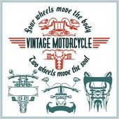 Vintage motorcycle labels, badges and design elements - vector set. — Stok Vektör