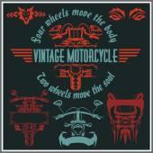 Vintage motorcycle labels, badges and design elements - vector set. — Stockvektor