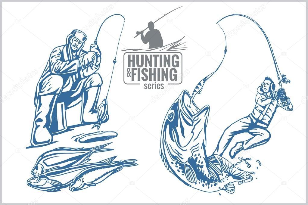 рыбака в векторе