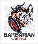 Viking norseman mascot cartoon with bludgeon and shield — Stock Vector