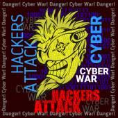 Hackers Attack - cyber war, sign on digital binary background. — Cтоковый вектор
