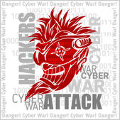 Hackers Attack - cyber war, sign on digital binary background. — Stock Vector