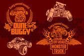 Dune buggy and monster truck - vector badge — Vector de stock