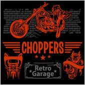 Vintage motorcycle labels, badges and design elements - vector set. — Stock Vector