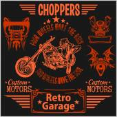 Vintage motorcycle labels, badges and design elements - vector set. — Stock Vector